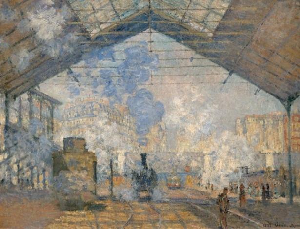 """""""A estação Saint-Lazare"""" (""""La gare Saint-Lazare"""", 1877), de Claude Monet"""