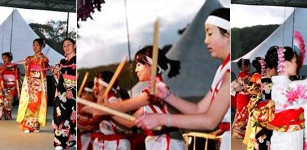 Além de culinária, apresentações de danças típicas japonesas estão na programação do Haru Matsuri. Na imagem, fotografias de edições anteriores do evento