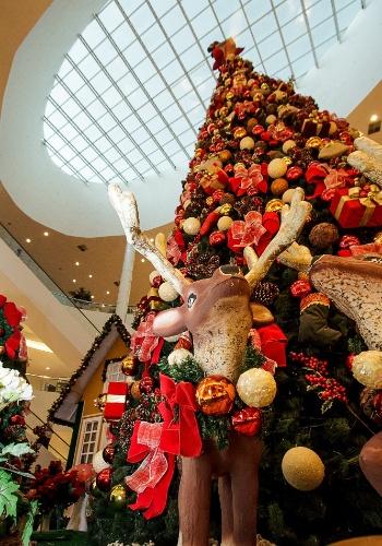 A Árvore de Natal surge cheia de presentes e animais, como renas decorativas que dividem a atenção daqueles que esperam pelo Papai Noel.