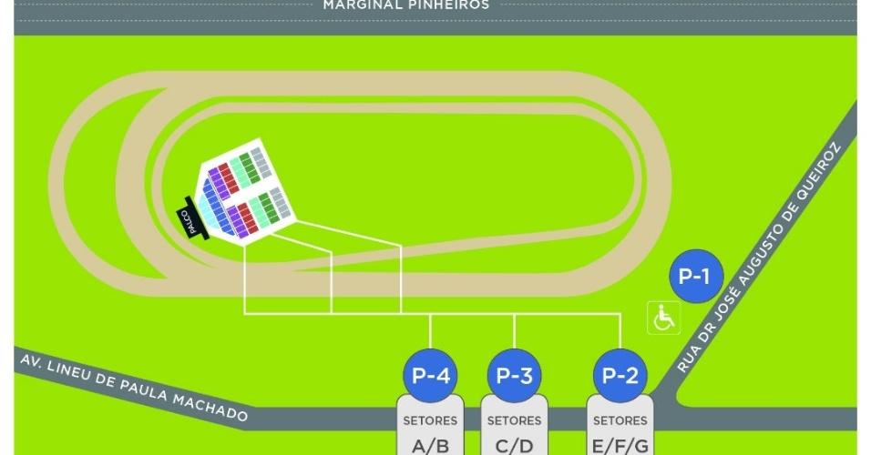 Mapa de acesso ao Jockey Club para o show do Elton John em São Paulo dia 27 de fevereiro