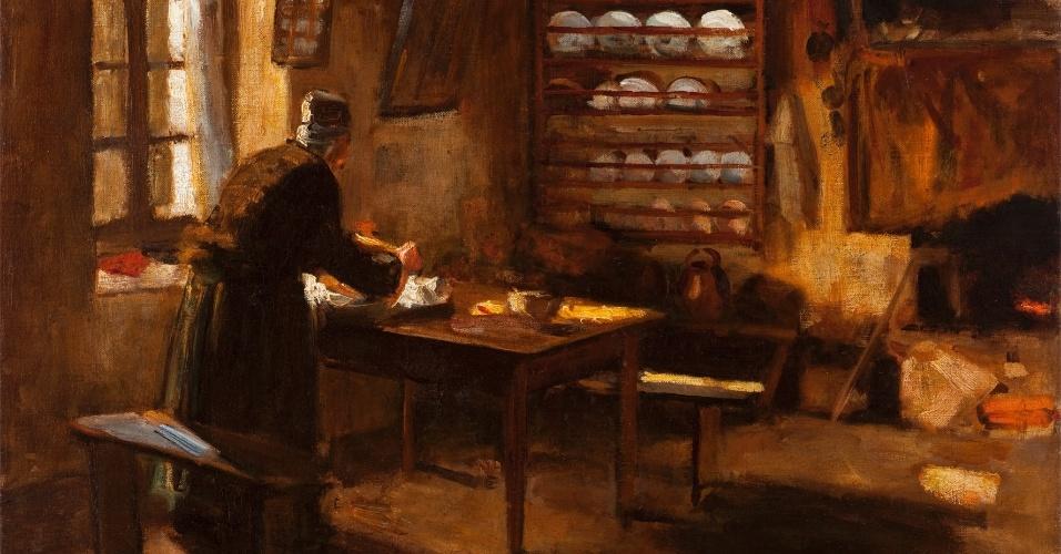 """""""Interior bretão"""", 1908, Mario Villares Barbosa. Óleo sobre tela, 50 x 64,5 cm. Doação da Família Azevedo Marques, 1949."""