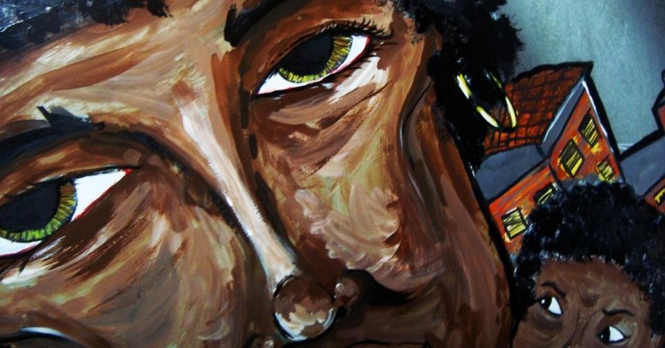 """Painel Mãe, de Rafael Calixto. A mostra """"Ausência"""" reúne obras de Juliana Notari, Marcos Gadaian, Paulo O?Meira e Rafael Calixto com fotos, painéis e graffitis tratam da relação do ser urbano com o espaço. Através das obras, o público pode observar a cidade e seu cotidiano. A exposição fica em cartaz de 2 de março o a 29 de junho, com entrada gratuita, no Espaço Art?er (Rua Harmonia, 797, Vila Madalena), de terça a sábado, das 10h às 19h. Mais informações no telefone (11) 3926 2512 ou no site www.espacoarter.com.br."""