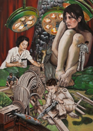 """""""Queimada"""", de Zed Nesti. Óleo sobre tela, 187 X 147cm."""
