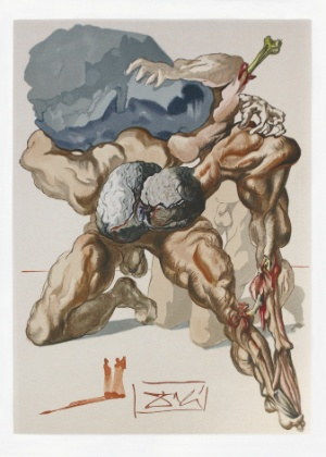 """Ilustração para o Canto VII, """"Avarentos e Prodígios"""", de """"A Divina Comédia"""", de Dante Alighieri, por Salvador Dalí - Reprodução"""