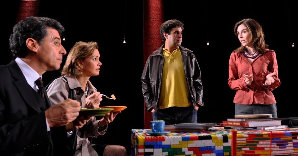Paulo Betti, Julia Lemmertz, Orã Figueiredo e Deborah Evelyn na peça