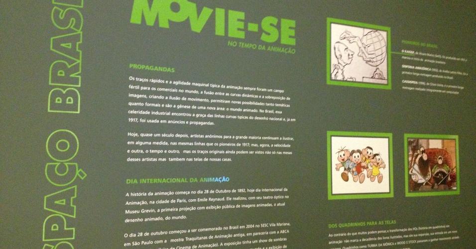 """Cartaz explicativo da exposição """"Movie-se No Tempo da Animação"""", no CCBB-RJ de 5 de fevereiro até 7 de abril de 2013"""