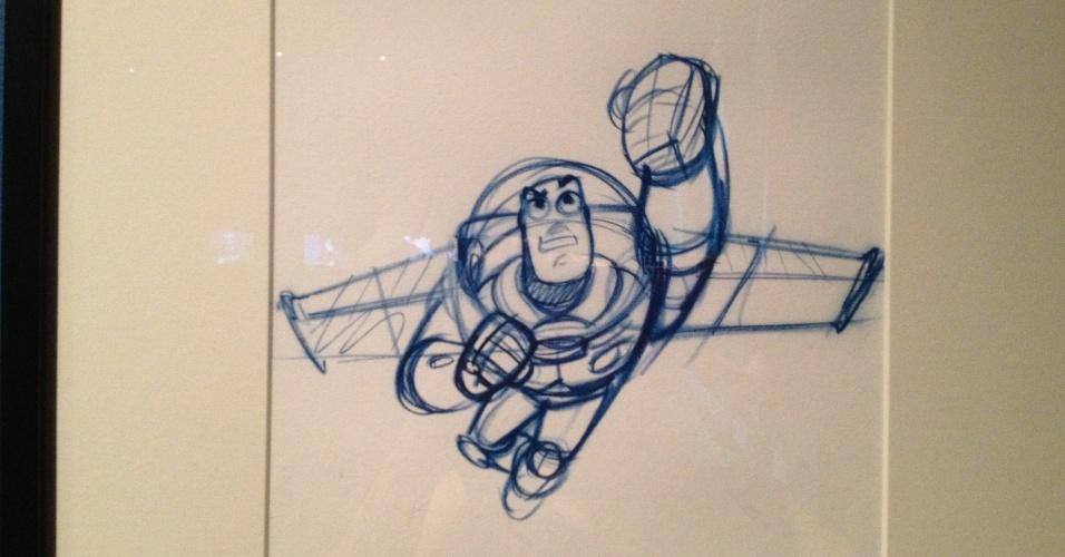 """Esboço do personagem Buzz Lightyear, de """"Toy Story"""", criado por John Lasseter, 1995"""