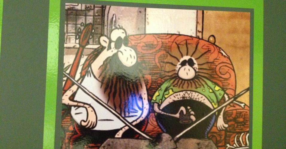 """Na sala dedicada à animação brasileira, os personagens Wood & Stock do cartunista Angeli ilustram o painel explicativo. Obra presente na exposição """"Movie-se No Tempo da Animação"""", no CCBB-RJ de 5 de fevereiro até 7 de abril de 2013"""