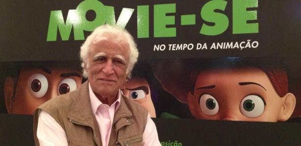 """O cartunista Ziraldo compareceu à  abertura da exposição Movie-Se No Tempo da Animação"""" e prestigiou a instalação do Menino Maluquinho, um de seus personagens mais famosos. - Elisa Freitas/UOL"""
