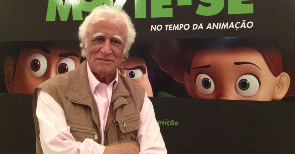 """O cartunista Ziraldo compareceu à abertura da exposição Movie-Se No Tempo da Animação"""" e prestigiou a instalação do Menino Maluquinho, um de seus personagens mais famosos."""